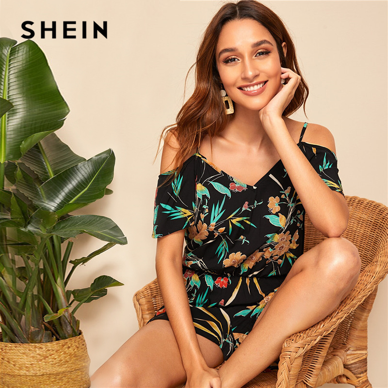 SHEIN Cold Shoulder Floral Print Blouson Rompers Womens   Jumpsuit   Boho Spaghetti Strap V Neck Sexy   Jumpsuit   Summer Playsuit