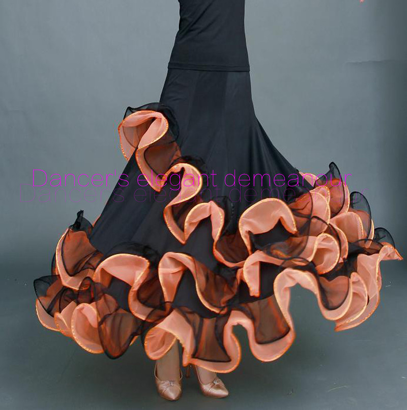 Nouvelle Salle De Bal de danse costumes sexy de soie de glace senior sertissage salle de bal jupe de danse pour femmes salle de bal concours de danse jupes