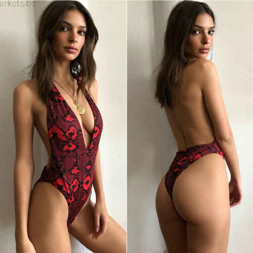 New Women's One-Piece Swimsuit Swimwear High Cut  Leopard Bodysuit Monokini Red Bathing Sexy Ladies Strap Swimming Suit