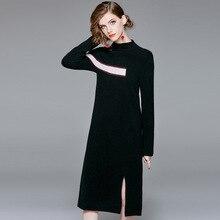 цены на Full sleeve elastic knit wool sweater dress 2018 new stand neck women autumn straight dress  в интернет-магазинах