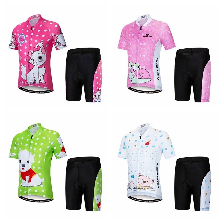 Cycling Jersey kids Bike jersey Shorts set pro Children MTB mountain road Tops Girls Boy Bicycle Jersey suit 2018 pink green