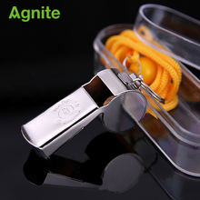 Agnite 2018 Metal Steel Whistle Genuine Sports Outdoor Basketball Football Stainless Steel Coach Copper Referee Whistle survival