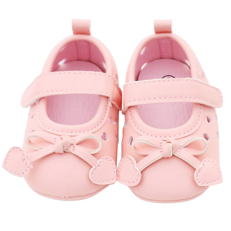 Autumn Spring Soft Bottom Bowknot Baby Shoes Newborn Shoes PU Leather First Walkers Heart Pattern Prewalkers New Arrival