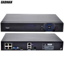 GADINAN 4 Channel  Standard 48V POE 1080P NVR H.264 HDMI ONVIF FULL HD 4CH PoE NVR Built in POE RJ45 Port Surveillance DVR
