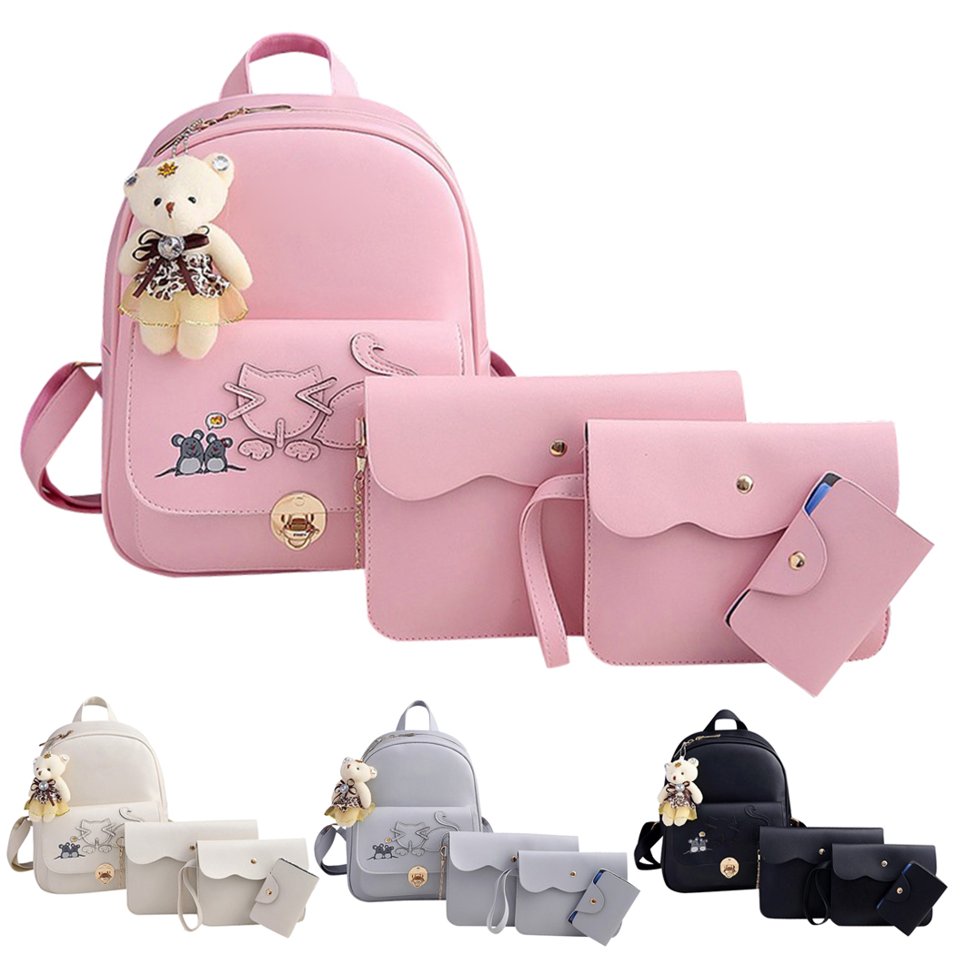 4pcs/Set Cute Leather Composite Bag Backpack Women School Leisure Backpacks Shoulder Bag ...
