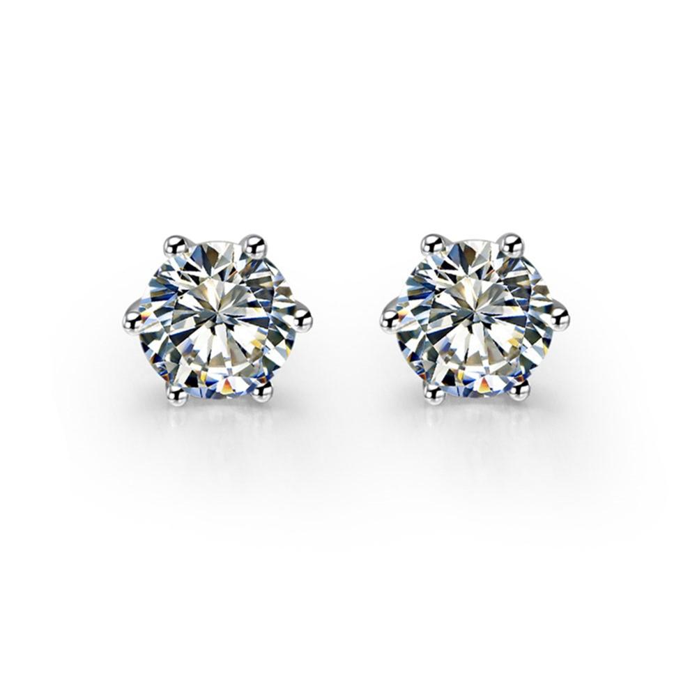 Earrings Fine-Jewelry Diamond Gold-14k Pure-White with Box Simulate Prongs Female Six