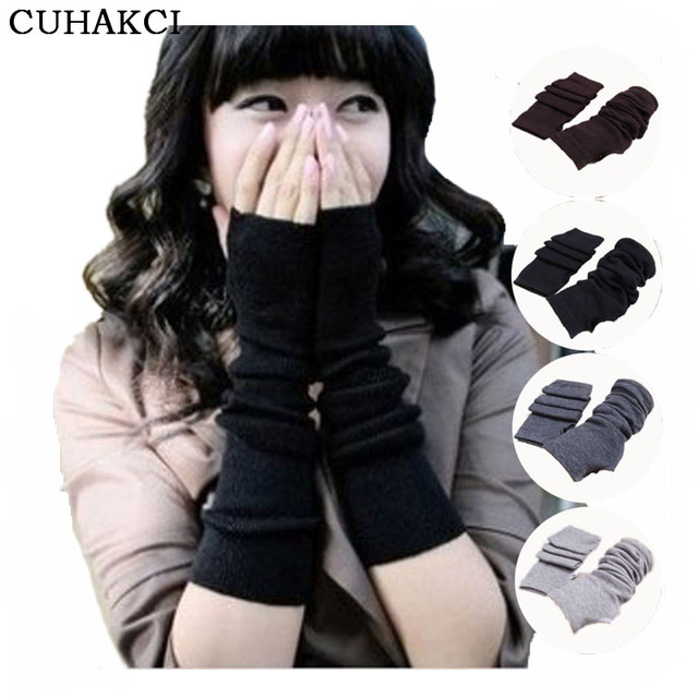 CUHAKCI Knitted Protection Fingerless Long Gloves Women Arm Warmers Solid Warm Mittens Half Finger Sleeves Black 3