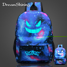 Dreamshining Men's Backpack Pokemon Gengar Backpack Galaxy Luminous Printing Backpack Anime School Bags For Teenagers Mochila