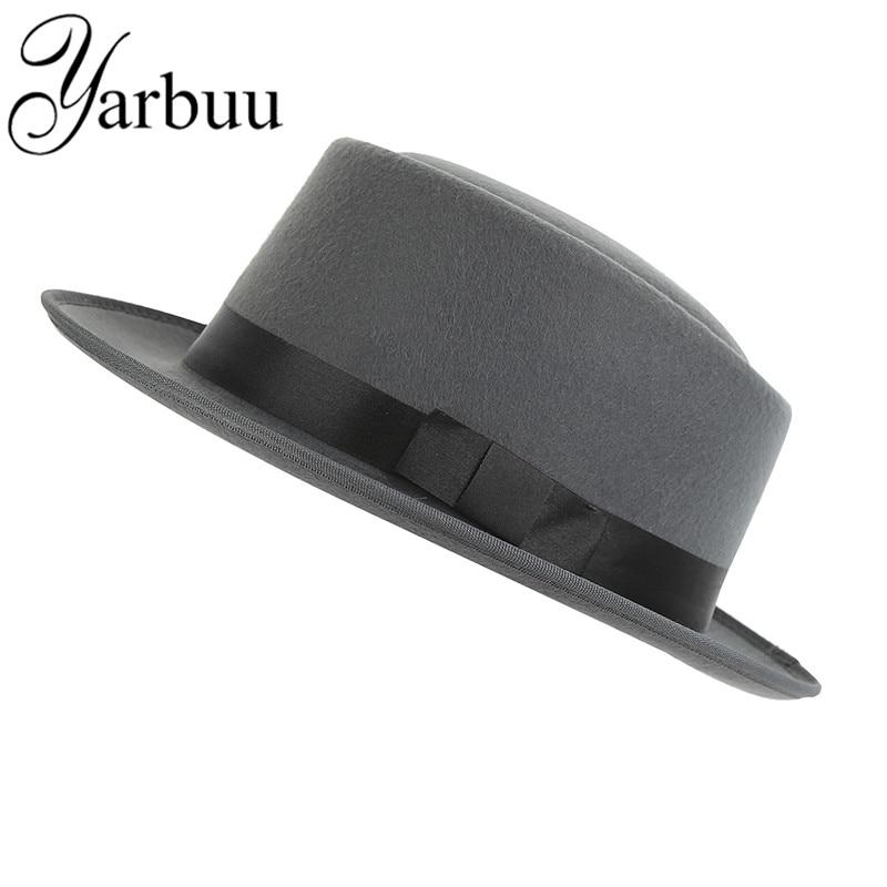 [YARBUU] unisex päls fedorahatt för herrar kvinnor högkvalitativa vinterhattar Solid färg och svart ulllock Noble hatt gratis leverans