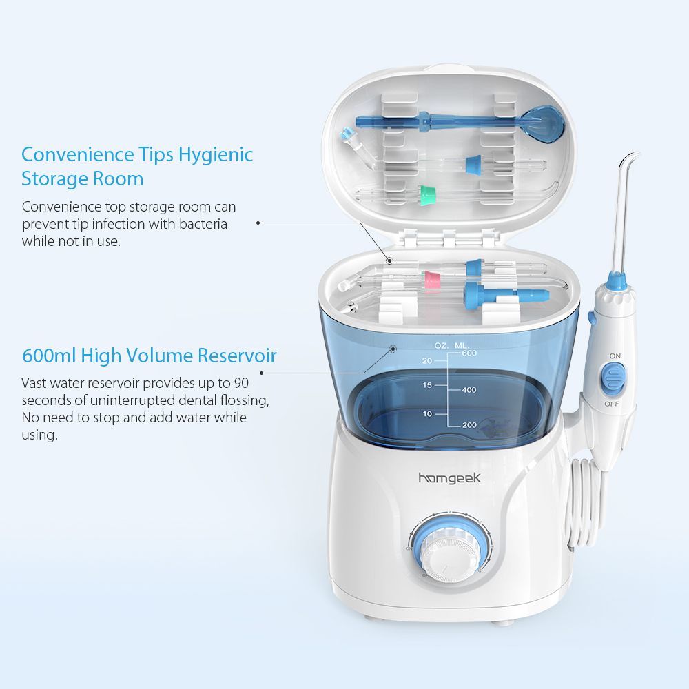 Homgeek Water Flosser irrigador Oral Irrigator Teeth Cleaner Pick Spa Tooth Care Clean With 7 Tips For Family-in Oral Irrigators from Home Appliances    3