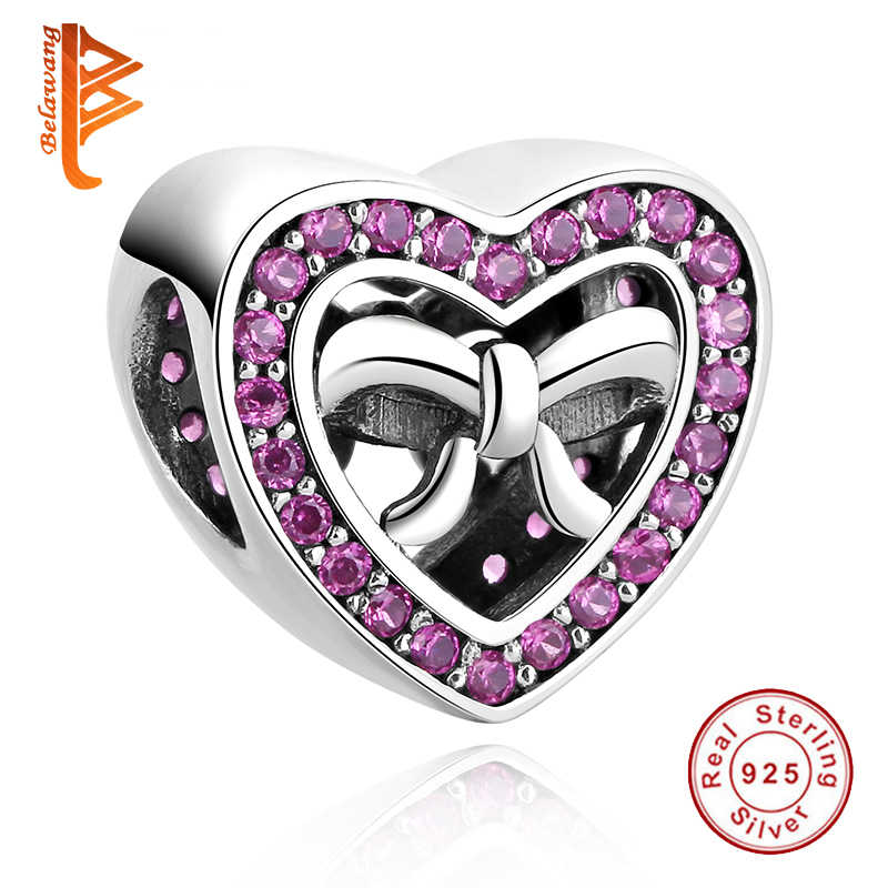 BELAWANG Authentic 925 Sterling Silver crystal Charms Bow Heart Beads Fit Original Pandora Charms Bracelet DIY Jewelry Making