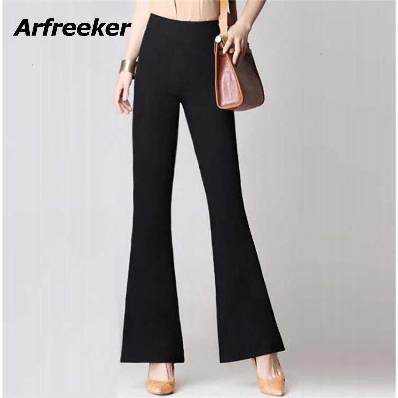 Arfreeker NEUE Frauen Casual Flare Hosen Schlank Stretch Schwarz Braun Hosen Mode Hohe Taille Zipfly Hose
