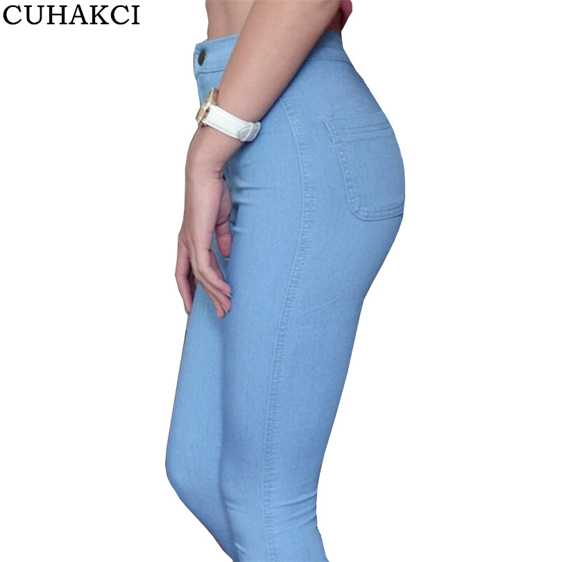 CUHAKCI High Waist Jeans High Elastic Zipper Slim Denim Jeans Fit Skinny Trousers Femme Jeans Women Washed Casual Pencil Pants fashion jeans femme women pencil pants high waist jeans sexy slim elastic skinny pants trousers fit lady jeans plus size denim