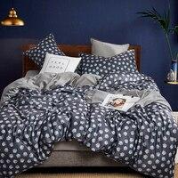 2019 Luxury Washed Cotton Soft Silk Bedding Set Queen King size 3d Bed set Duvet Cover Fitted/Bed sheet set parrure de lit 4 Pcs