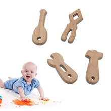 4 Pcs/Set Baby Teether Tool Shapes Teething Nursing Natural Wooden Toys Organic