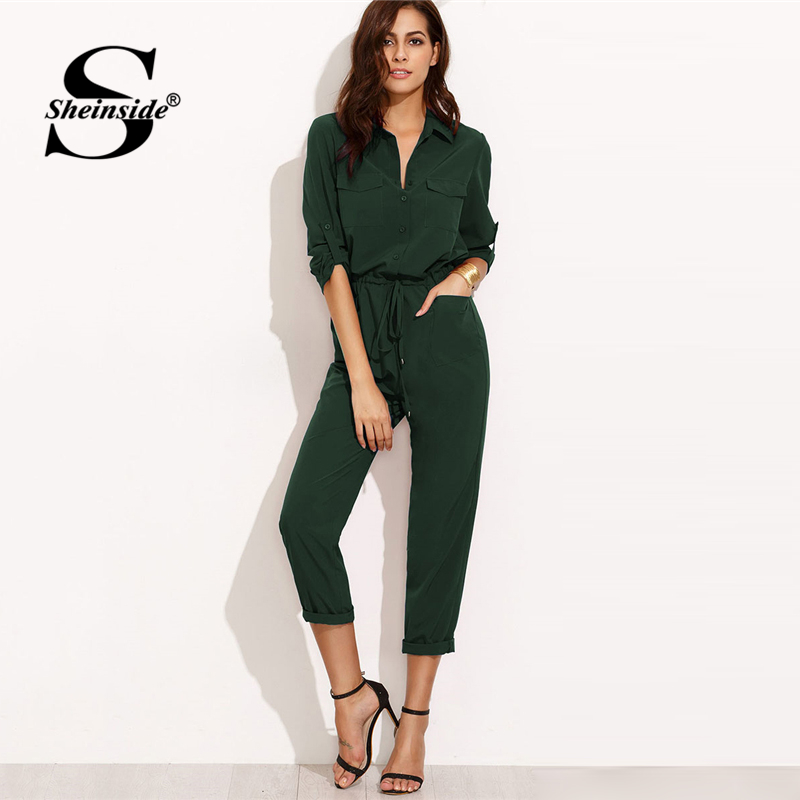 Sheinside Green Autumn   Jumpsuit   Woman Clothes   Jumpsuits   For Women 2018 Overalls Tie Waist Rolled Sleeve Equipment   Jumpsuit