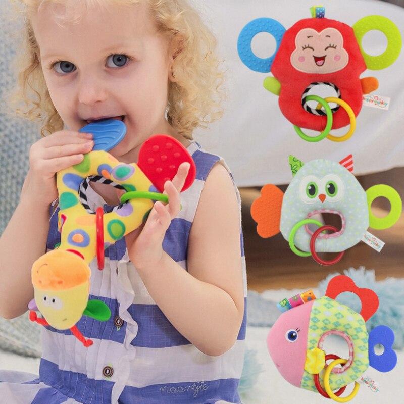 Baby Infant Plush Rattle Stuffed Toy Hand Grasp Teethers Cute Animal Handbell Ring Newborns Early Development Boys Girls Gift