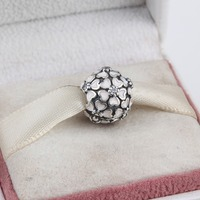 ZMZY 925 Sterling Silver Cherry Blossom Clip Charms Pink Enamel Beads fit Pandora Bracelet