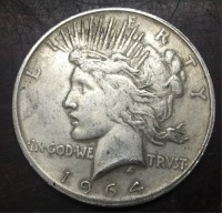 1964 D United States Peace One Dollar made in pure silver (.900) 38.1mm