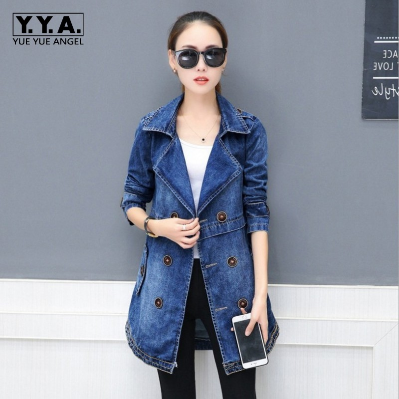 Women Denim Double Breasted   Trench   Washed Jean Turn Down Collar Slim Fit Long Coat Female Casual Streetwear   Trench   Coats 3XL