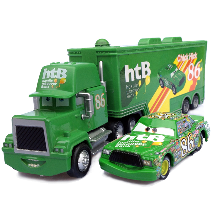 Disney Pixar Cars No.86 Mack Truck + Small Car Chick Hicks  Metal Toy Car For Children 1:55 Loose Brand New In  Lightning McQuee