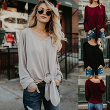 S-XL women o neck long sleeve t shirt  off shoulder casual leisure brand tops t shirt spring autumn pure color t-shirt chic round neck half sleeve pure color fringed t shirt for women