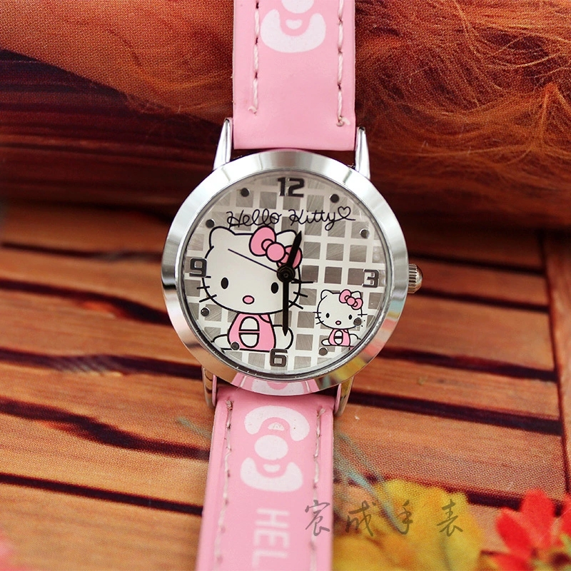 Popular Children's Cartoon Hello Kitty Cute Girl Kt Cat Leather Quartz Watch Gift Table