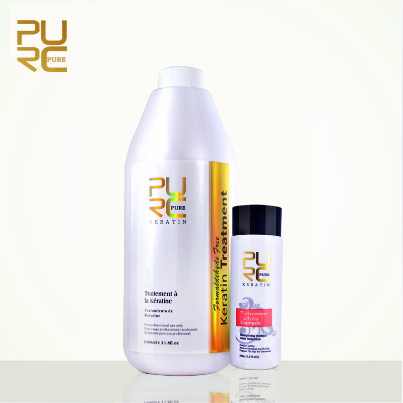PURC Best Straightening Hair Product Brazilian Keratin Free Formaldehyde and 100ml Purifying Shampoo Repair and Straighten 1x purc 12