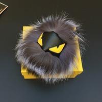 Fluffy Bất Fox Fur PomPom Da Mặt Ít Quái Vật Túi Quyến Rũ Chính Hãng Lông Keychain Xe Hơi Sang Trọng Trang Sức Mặt Dây Chuyền Fo-K037-grey