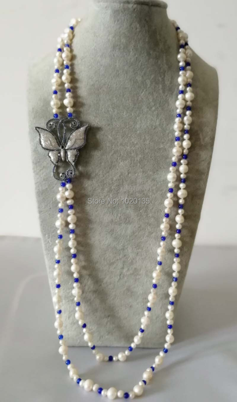 wholesale 2rows freshwater pearl white round and blue jades stone beads round neklace 36-38inch FPPJ butterfly clasp