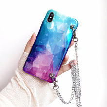 chain strap tpu case for iphone XR X XS MAX 7 8 6 6s plus cover space planet shoulder lanyard soft silicon phone bag capa