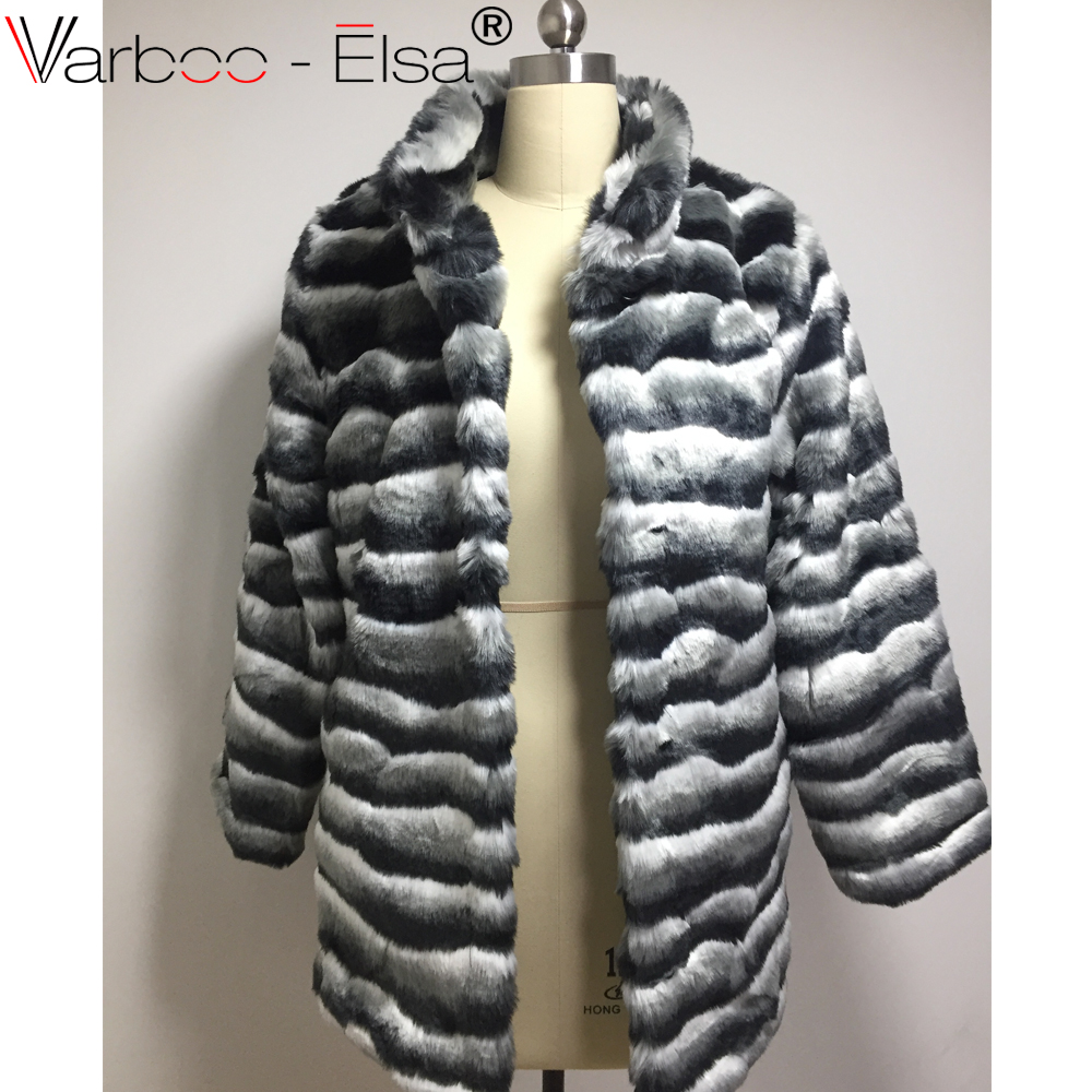 7580fa4c01 VARBOO_ELSA Women Winter Black white stripe Fur Coat Long Sleeve Faux Fur  Outerwear Lady furry coats long Fur Jacket Plus Size-in Faux Fur from  Women's ...
