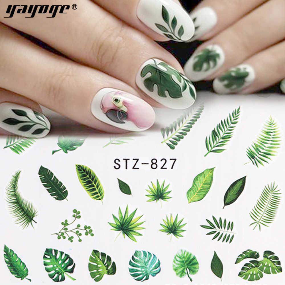 YAYOGE 1 unids/set mezclado 21 Diseño de Arte de uñas pegatina de transferencia de agua hojas de flores coloridas Arco Iris patrones calcomanía manicura