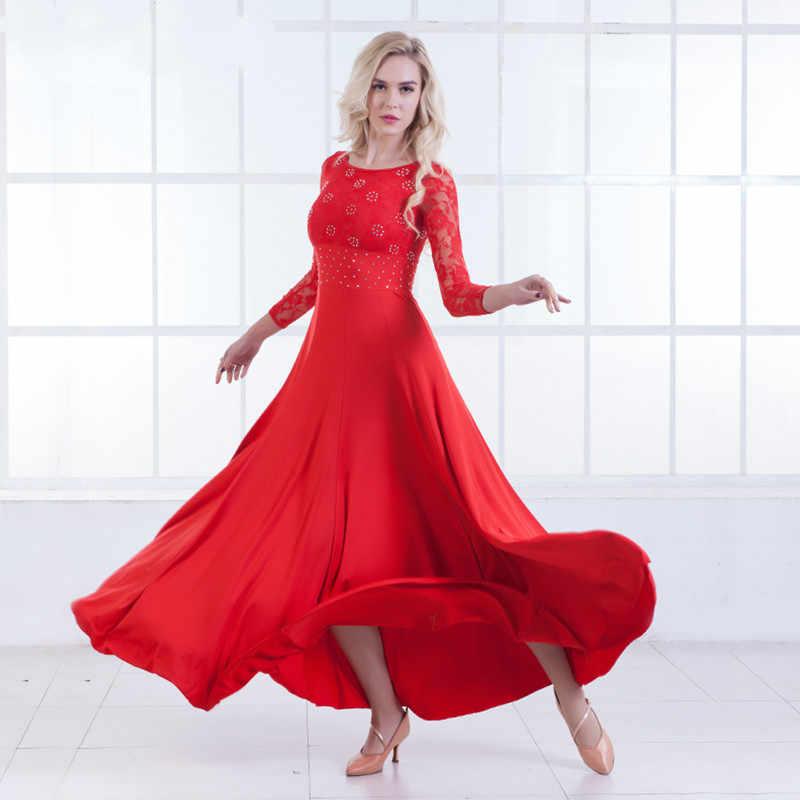 Современные платье для танцев с длинным рукавом Костюмы для бальных танцев танцевальная Costume National Стандартный платье для танцев платье вальс производительность Костюмы