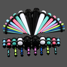 36pcs/lot Acrylic Assorted Colors Ear Gauges Taper and Plug Stretching Kits Flesh Tunnel Expansion Body Piercing Jewelry 14G-00G