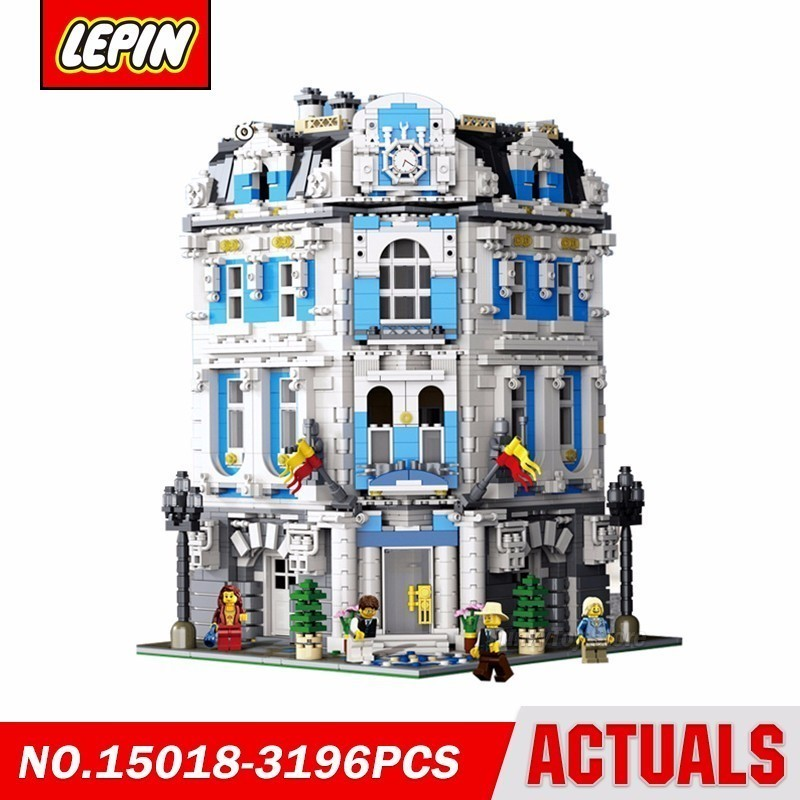 Lepin 15018 Moc Sunshine Hotel City Street Series Model Building Block Brick Kits Compatible Gift Toys lepin 15018 3196pcs creator city series sunshine hotel model building kits brick toy compatible christmas gifts
