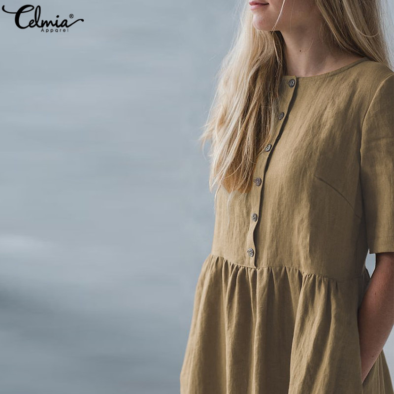 6d5e14dfdcc ... Celmia Vintage Linen Shirt Dress Women Short Sleeve Button Down Solid  Casual Party Dresses Summer Sarafans Vestidos Robe. -27%. Click to enlarge