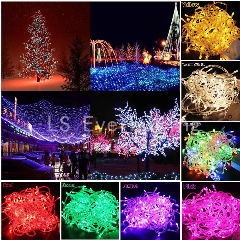 HOT sale Led String Lights 10M 20M 30M 50M 100M Xmas Holiday light outdoor decor lamp for party wedding garden christmas Fairy cis 57455 solar powered 50 led white xmas party wedding decor string light black 3 2v 7 5m