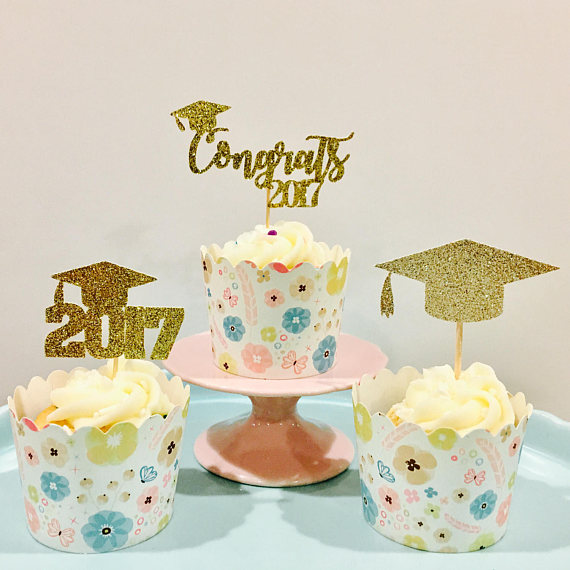 Cool Glitter 2017 Graduation Cupcake Toppers Kids Birthday Rustic Funny Birthday Cards Online Alyptdamsfinfo