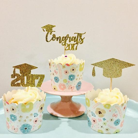Astounding Glitter 2017 Graduation Cupcake Toppers Kids Birthday Rustic Birthday Cards Printable Giouspongecafe Filternl