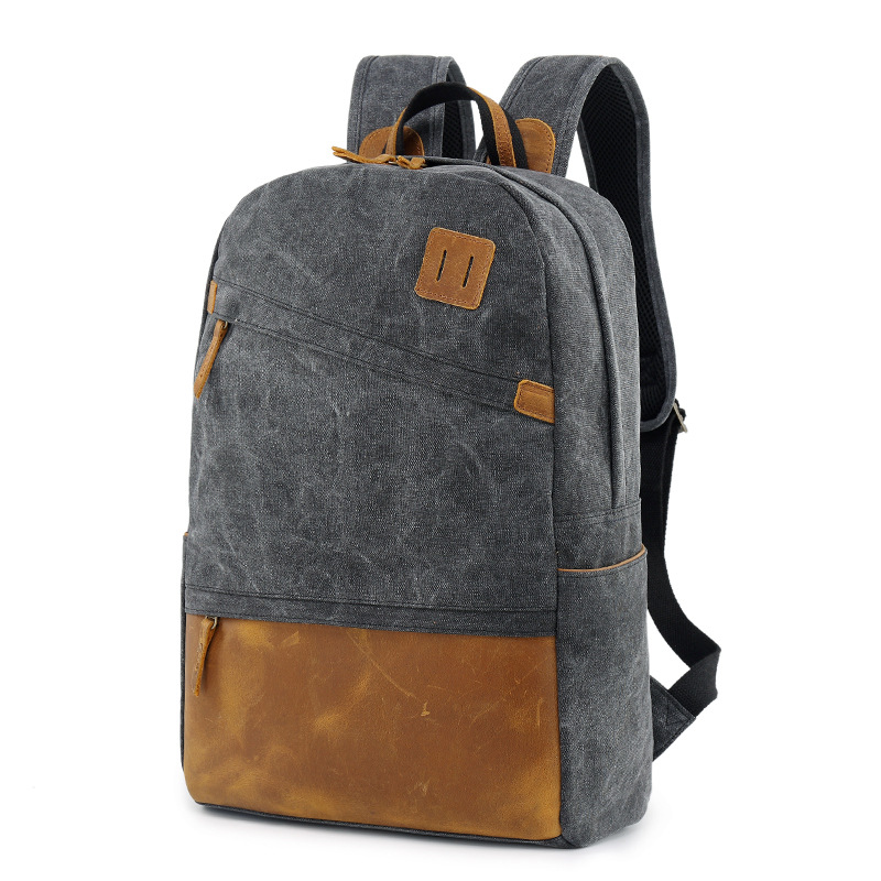 New Style Men's Casual Backpack Unisex Solid Canvas Concise Fashion High capacity School Bags Computer Package