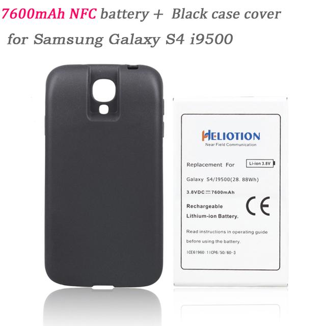 Alta qualidade 7600 mah substituição da bateria com tampa traseira para samsung galaxy s4 i9500 nfc telefone estender bateria comercial 100%
