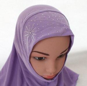 Image 5 - Kinder Kinder Mädchen Islamischen Muslimischen Schal Schule Strass Headwear Arabischen Turban Headwrap Underscarf Ramadan Nahen Osten
