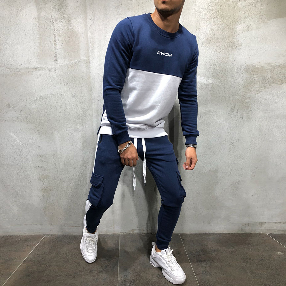 GYMOHYEAH 2018 Autumn New Splice Tracksuit Men Casual Hooded Clothing Basic Stripe Pant Homme Clothes Fashion streetwear Sets Pakistan