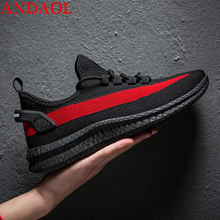 ANDAOL Men's Casual Shoes Top Quality Mesh Breathable Light Walking Sneakers Luxury Comfortable Lace-Up Campus Trainers Shoes недорого