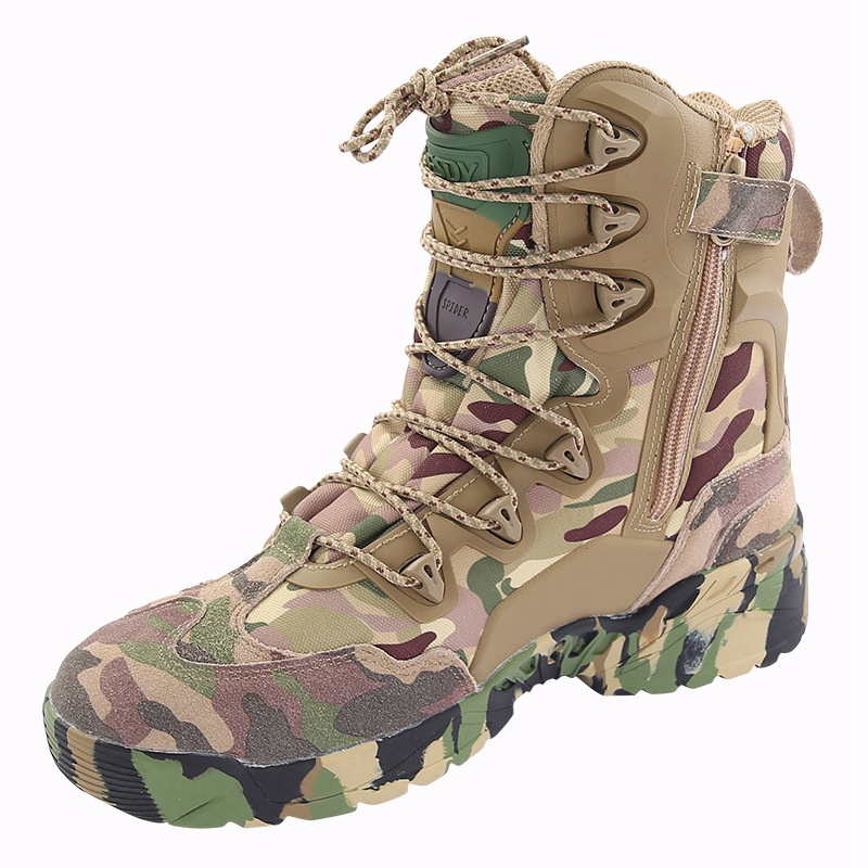 где купить  Camouflage Sneakers High Quality Leather Shoes Men Sports Waterproof Hiking Boots for Men Outdoor Mountain Climbing Combat Shoes  по лучшей цене