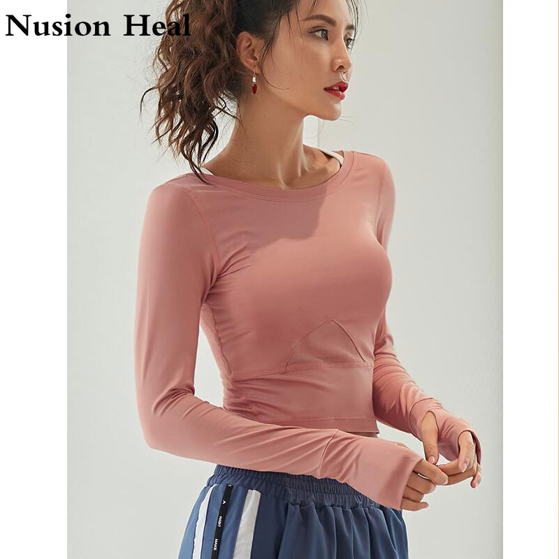 Dropship Ombre Crop Top Yoga Shirts For Women Long Sleeve Workout Tops Gym Shirts With Thumb Hole Fitness Crop Top Camisas Mujer