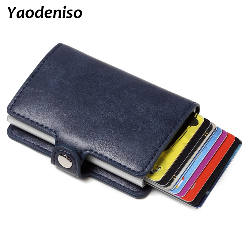 2019 Men Wallet Metal Card Holder RFID Aluminium Credit Card Holder Women Leather Wallet Antitheft Automatic Pop Up Card Purse
