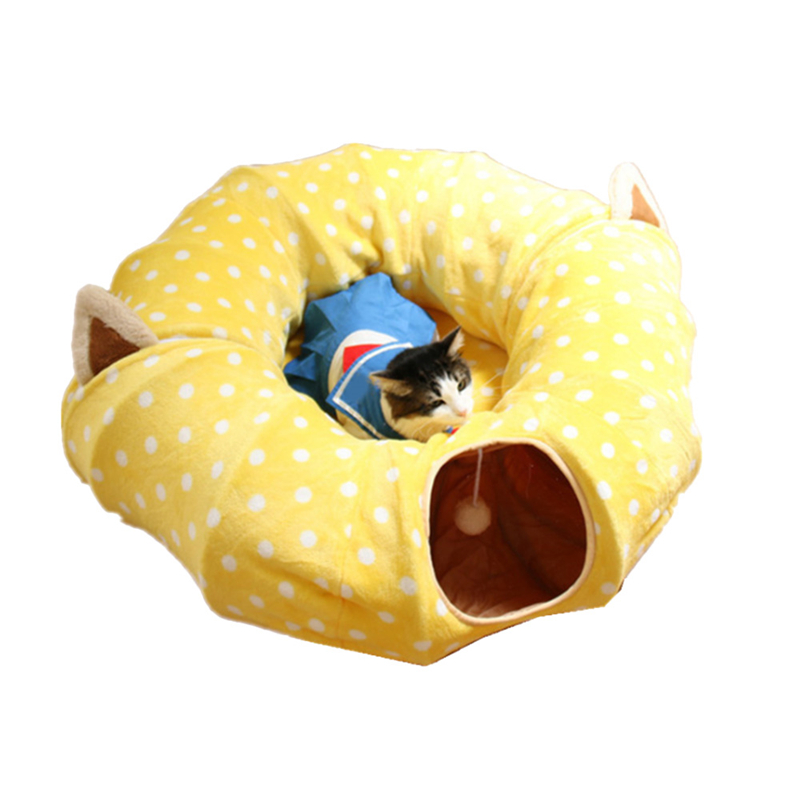 Christmas Pet Tunnel Cat Beds House And Sleep With Ball Cat Play Tunnel Funny Cat Long