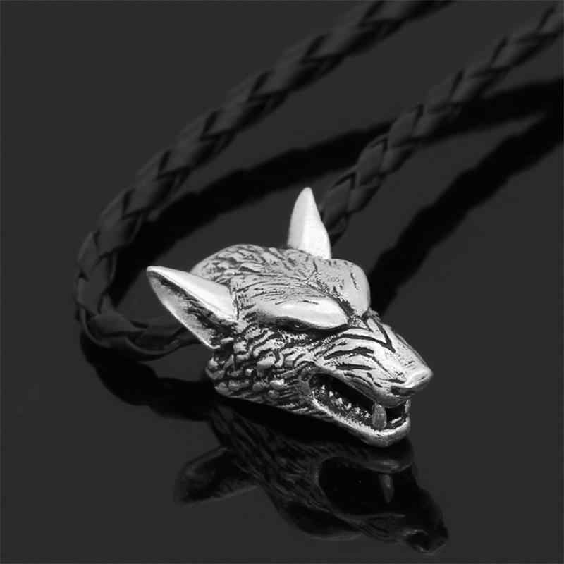 Viking Wolf Head Pendant Necklace Leather Cord Necklace Silver Wolf Head Ornament Viking Jewelry